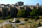 Overview of Joyce Kilmer Park along the Grand Concourse. Movies were shown in this park during the summer of 2008.