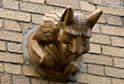 Gargoyle from the ornatley decorated Plaza Apartments, currently a rental building