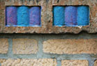 Colorful brickwork detail from the Plaza Apartments on Jerome Avenue, the first Art Deco building in the Bronx, just behind the new Yankee Stadium. Currently a rental building.